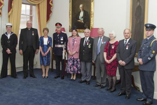 The Lord-Lieutenant with recipients of The British Empire Medal' (at Serle's House on Monday 14 May 2018)