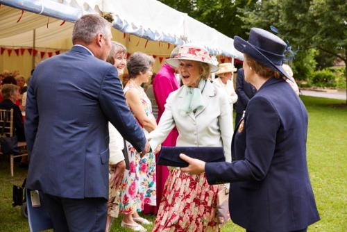 HRH Princess Alexandra attending the Good Neighbours 40th Anniversary celebrations, received by The Lady Wakeham MBE DL