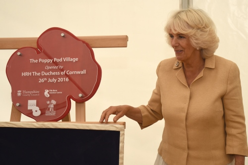 HRH The Duchess of Cornwall opening The Poppy Pods at Tile Barn Outdoor Centre