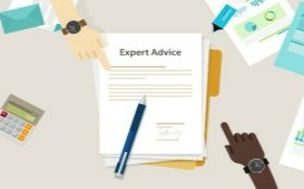 Graphic artwork of a document titled 'expert advice'