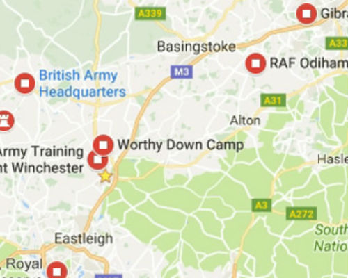 Map of army bases around Hampshire