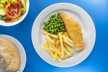 Baked battered fish and chips
