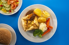 Vegetarian sausages and Yorkshire pudding