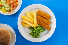 Baked fish fingers and chips