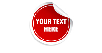 A red, circular sticker with text: Your Text Here