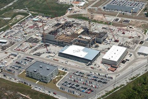 Aerial image of a construction site