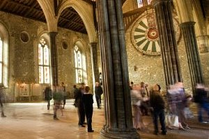 Picture of the group of people inside the Great Hall in Winchester
