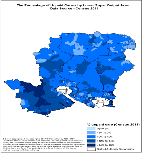 The percentage of unpaid carers by lower super output area