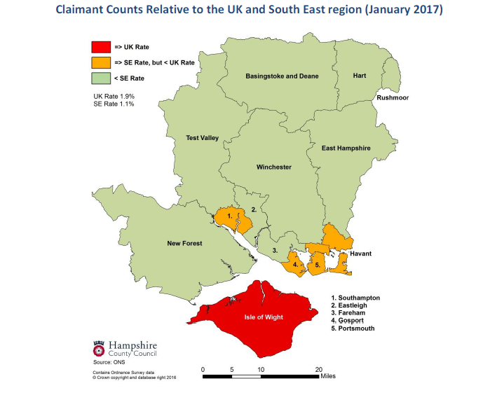 Claimant Count relative to the UK and South East region