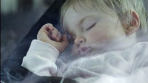 smoke around sleeping baby
