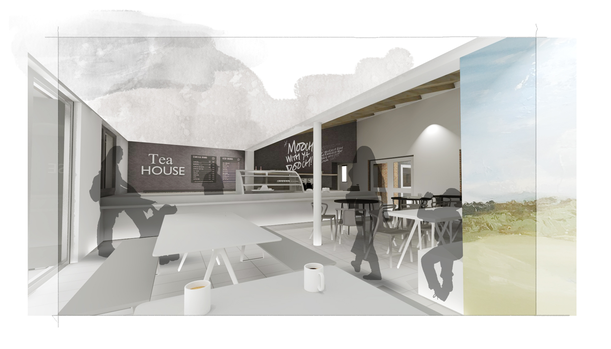 Design for the new, larger cafe at Queen Elizabeth Country Park
