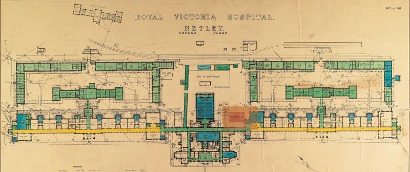 Architects plan of Royal Victoria Hospital