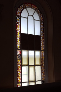 Etched glass in Netley chapel, RVCP