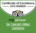 Trip Advisor Certificate of Excellence 2015 Winner - Sir Harold Hillier Gardens