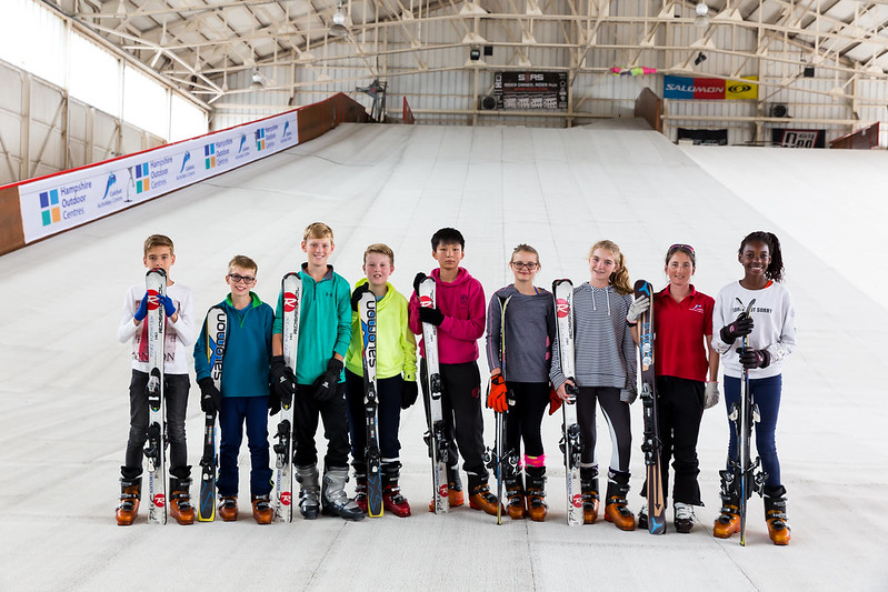 children on dry slope