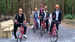 Group of people on mountain bikes