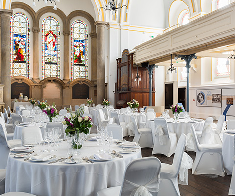 Wedding tables at the Royal Victoria Chapel