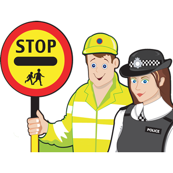 cartoon of crossing patrol man and police woman