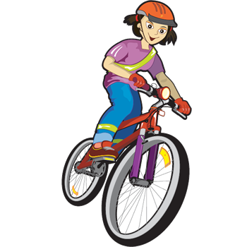 cartoon girl on bicycle