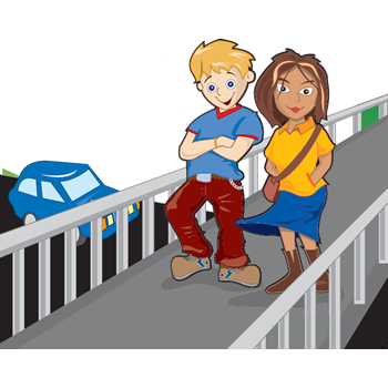 cartoon of children on footbridge