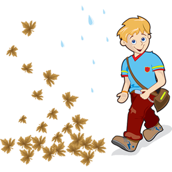 cartoon of boy walking in autumn leaves