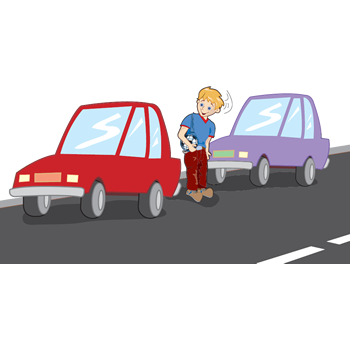 cartoon of boy crossing road from between two parked cars