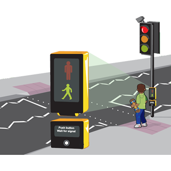 cartoon of boy using puffin crossing