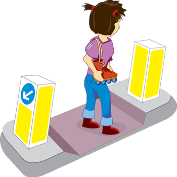 cartoon of girl on central traffic island