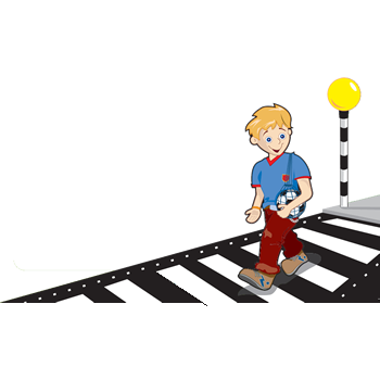 cartoon of boy crossing a road