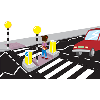 cartoon of girl using a zebra crossing