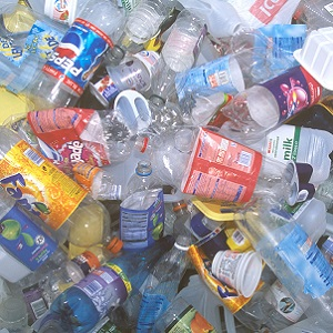 Pile of empty plastic bottles and packaging