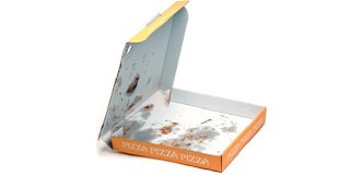 Recycling contamination pizza box with leftover food inside