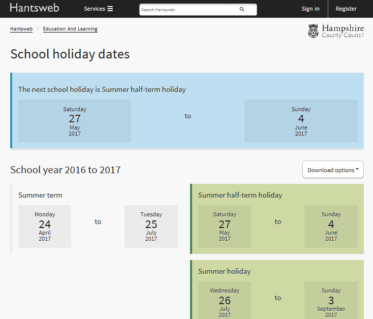 School Holidays And Term Dates About The Council Hantsweb