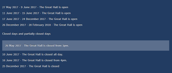 Opening times information
