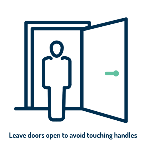 Leave doors open to avoid touching handles logo