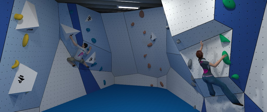 computer generated image of the new bouldering cave