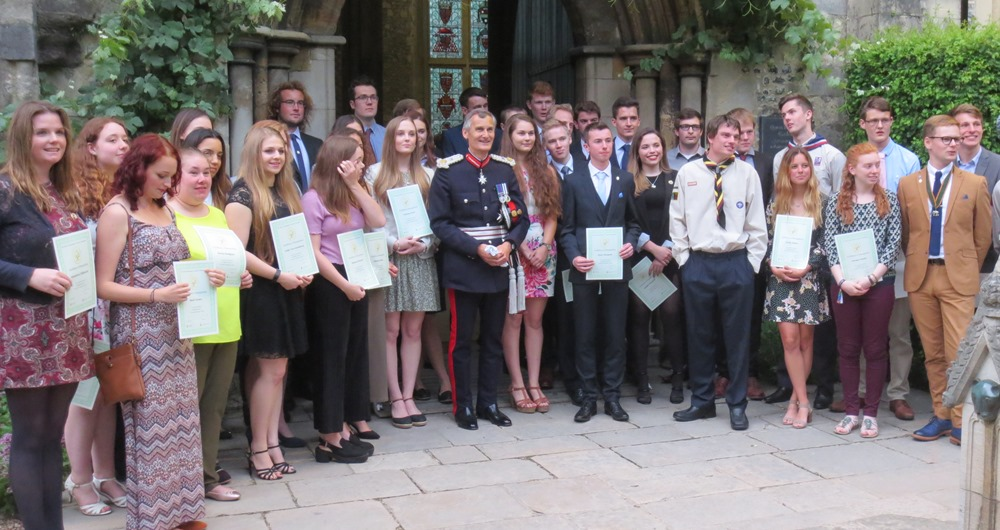 Winners of the duke of edinburgh's gold award with the Lord Lieutenant