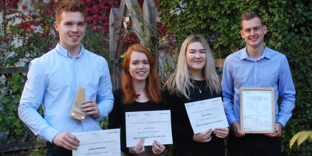 Apprenticeship Awards 2018, left to right: Josh, Abbie, Mia, Dan