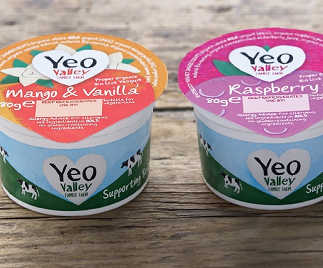 Three Yeo Valley yogurts