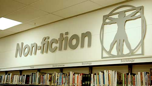 Cut acrylic signage for a library non-fiction section