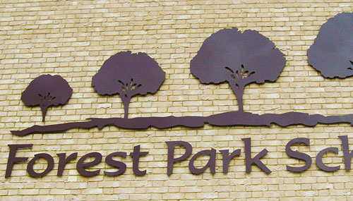 Cut acrylic signage for Forest Park school