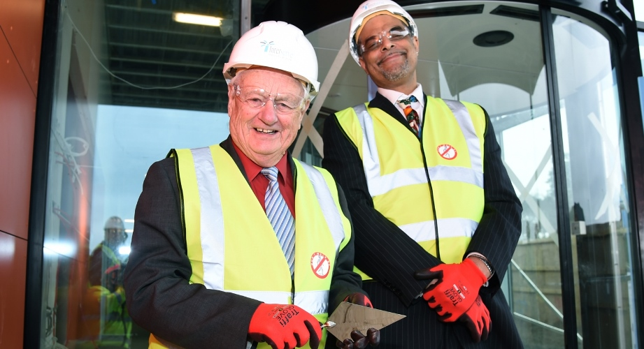 Councillor Peter Edgar and Anthony Bravo at the topping out of Whitehill and Bordon Future Skills Centre