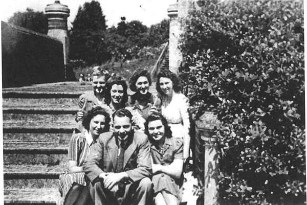 Friends on the terrace of Leigh Park Mansion House