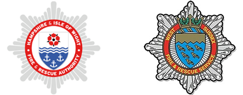 Hants and West Sussex Fire and Rescues Services logos