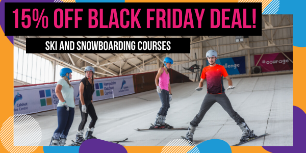 Image of black Friday offer. People skiing.
